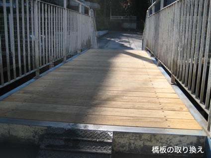 前原川の橋(飯山満町2-403)板の取り換え