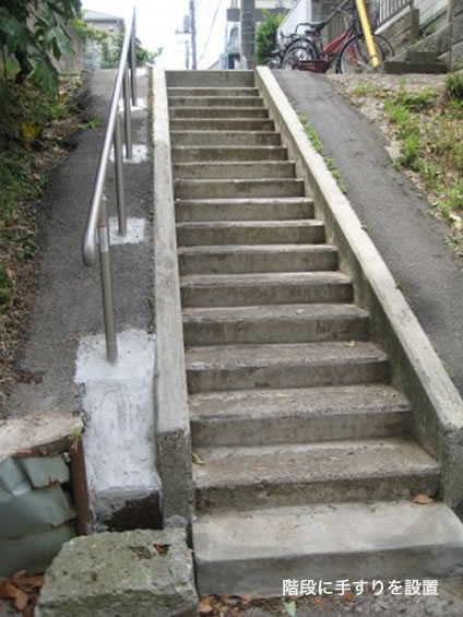 階段に手すりを設置